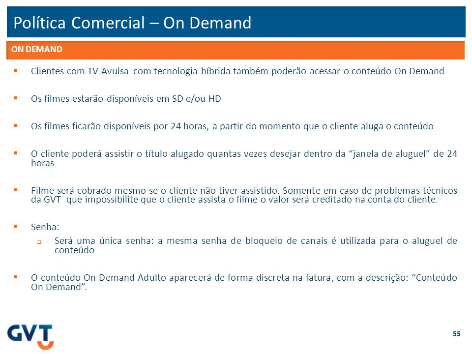 Política Comercial – On Demand