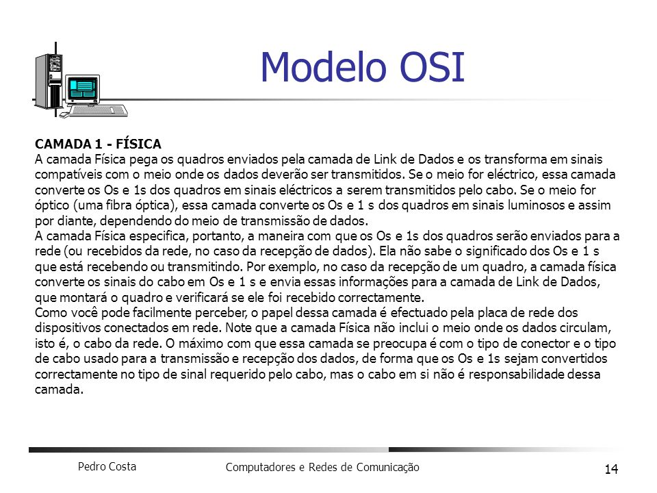 Modelo OSI CAMADA 1 - FÍSICA