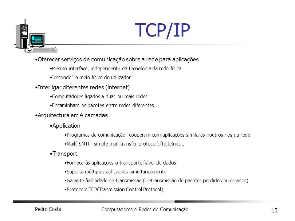 TCP/IP Oferecer serviços de comunicação sobre a rede para aplicações