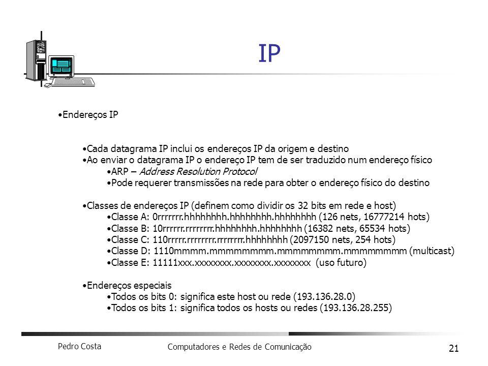 IP Endereços IP. Cada datagrama IP inclui os endereços IP da origem e destino.