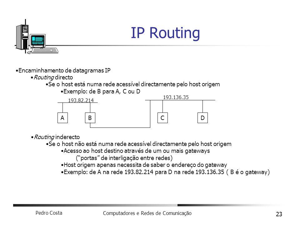 IP Routing Encaminhamento de datagramas IP Routing directo