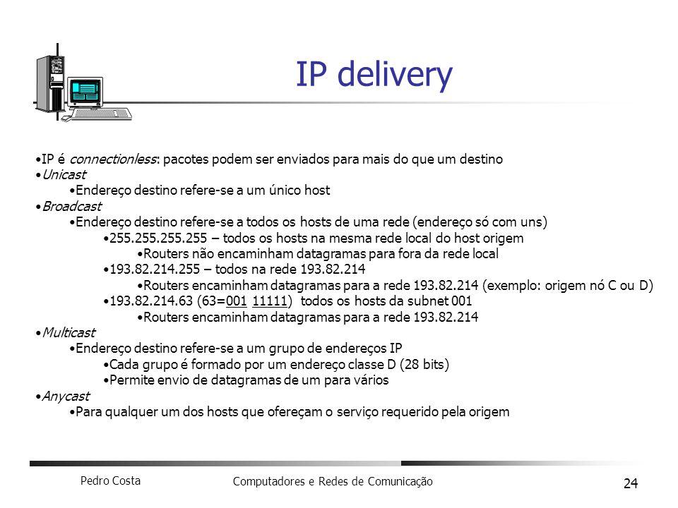 IP delivery IP é connectionless: pacotes podem ser enviados para mais do que um destino. Unicast. Endereço destino refere-se a um único host.
