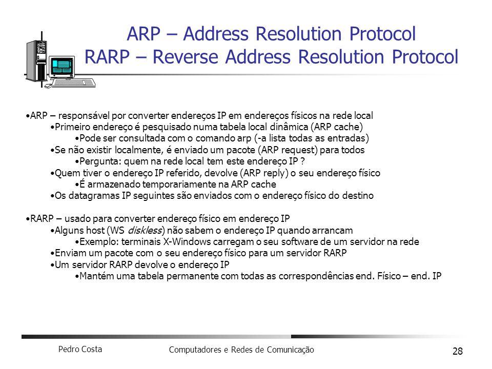 ARP – Address Resolution Protocol RARP – Reverse Address Resolution Protocol