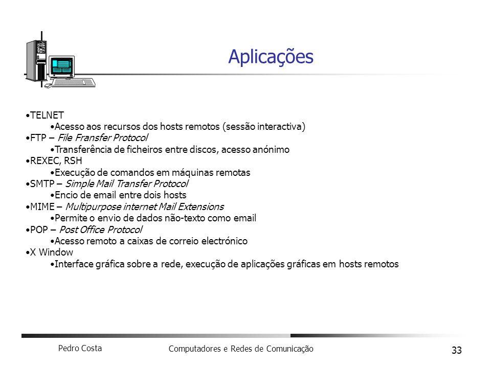 Aplicações TELNET. Acesso aos recursos dos hosts remotos (sessão interactiva) FTP – File Fransfer Protocol.
