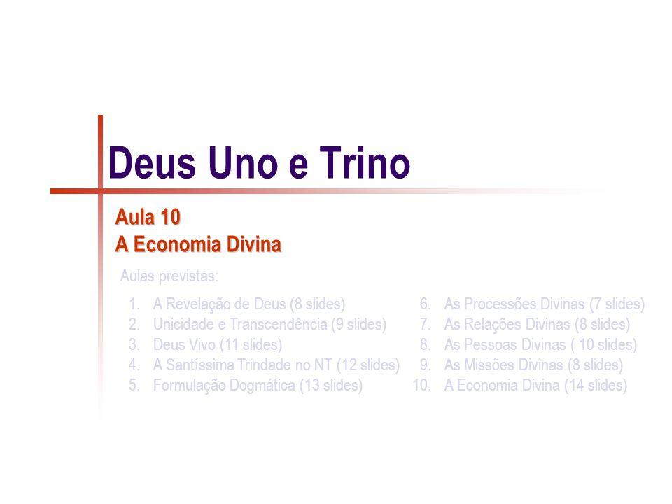 Deus Uno e Trino Aula 10 A Economia Divina