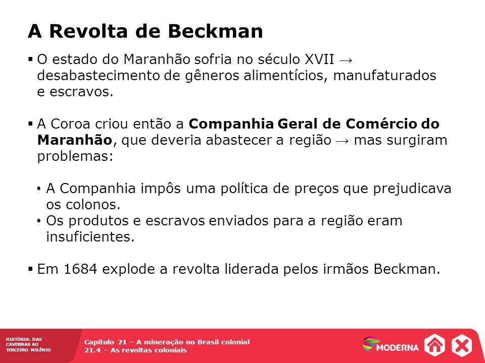 A Revolta de Beckman O estado do Maranhão sofria no século XVII → desabastecimento de gêneros alimentícios, manufaturados e escravos.