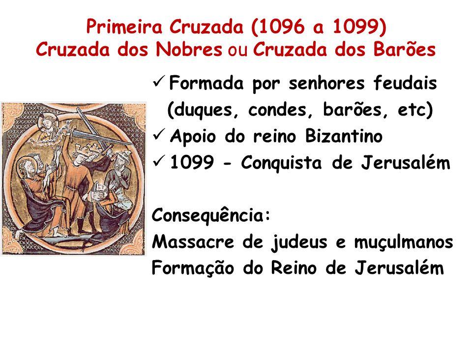 Primeira Cruzada (1096 a 1099) Cruzada dos Nobres ou Cruzada dos Barões