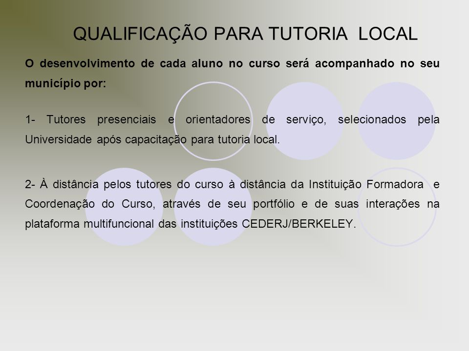 QUALIFICAÇÃO PARA TUTORIA LOCAL