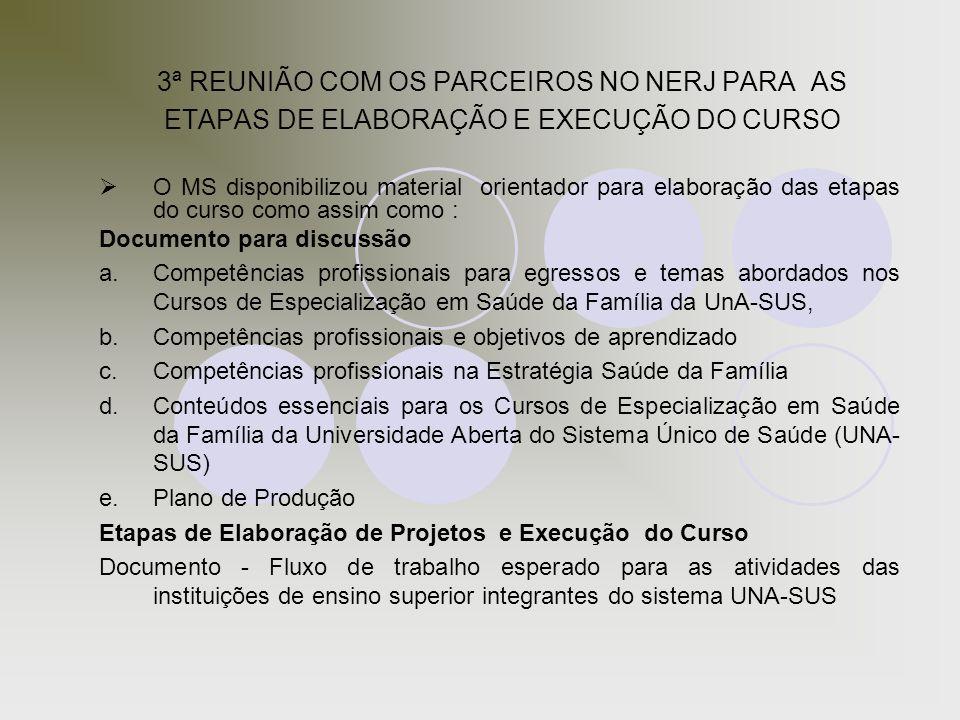 3ª REUNIÃO COM OS PARCEIROS NO NERJ PARA AS ETAPAS DE ELABORAÇÃO E EXECUÇÃO DO CURSO