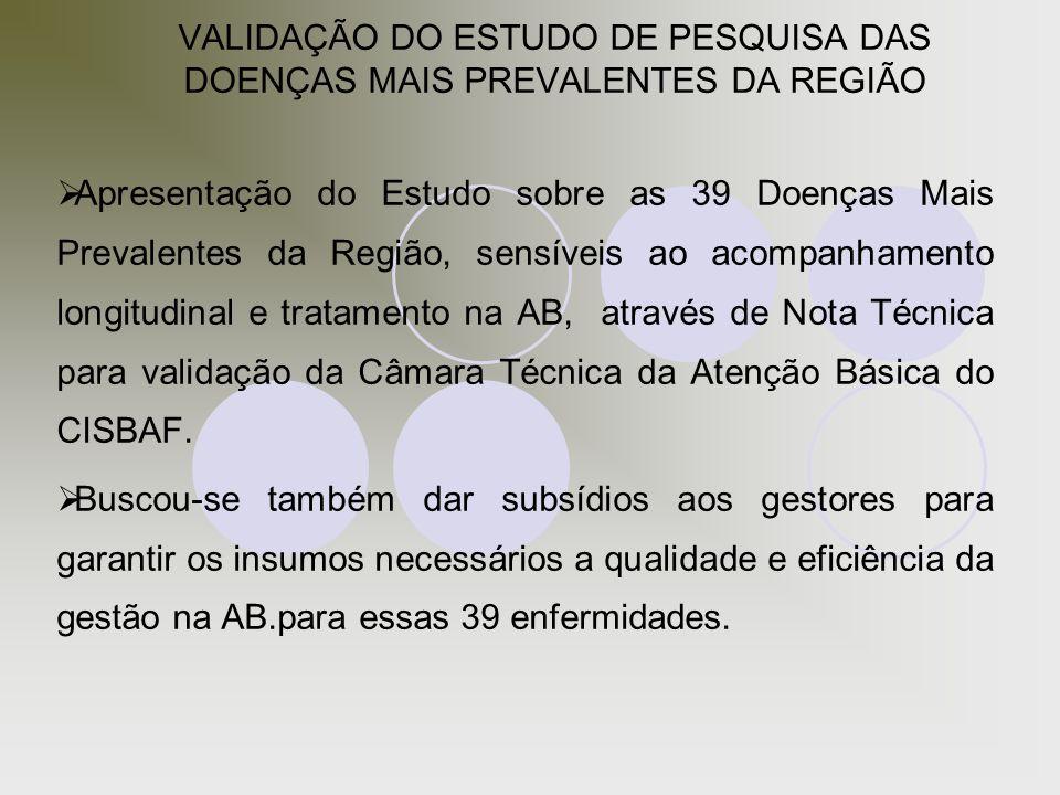 VALIDAÇÃO DO ESTUDO DE PESQUISA DAS DOENÇAS MAIS PREVALENTES DA REGIÃO