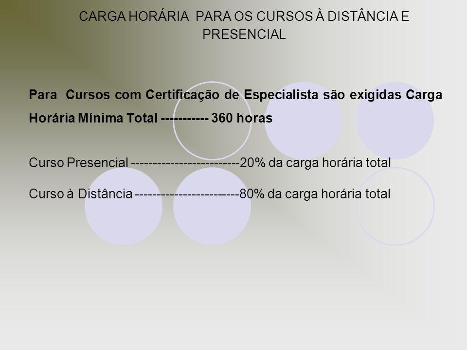 CARGA HORÁRIA PARA OS CURSOS À DISTÂNCIA E PRESENCIAL
