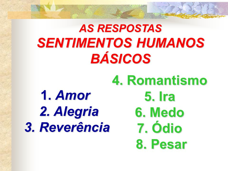 SENTIMENTOS HUMANOS BÁSICOS