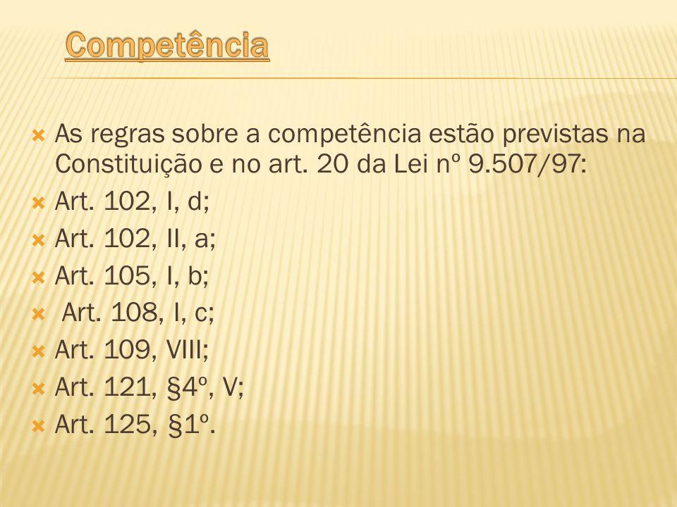 Competência As regras sobre a competência estão previstas na Constituição e no art. 20 da Lei nº 9.507/97: