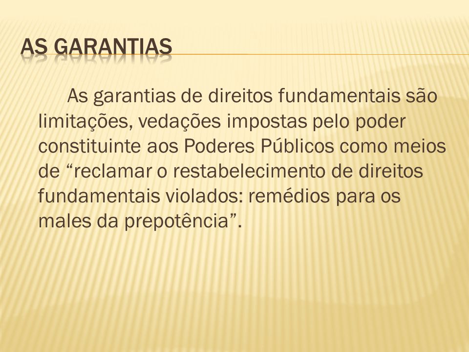 As Garantias