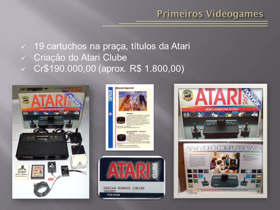 Primeiros Videogames 19 cartuchos na praça, títulos da Atari.