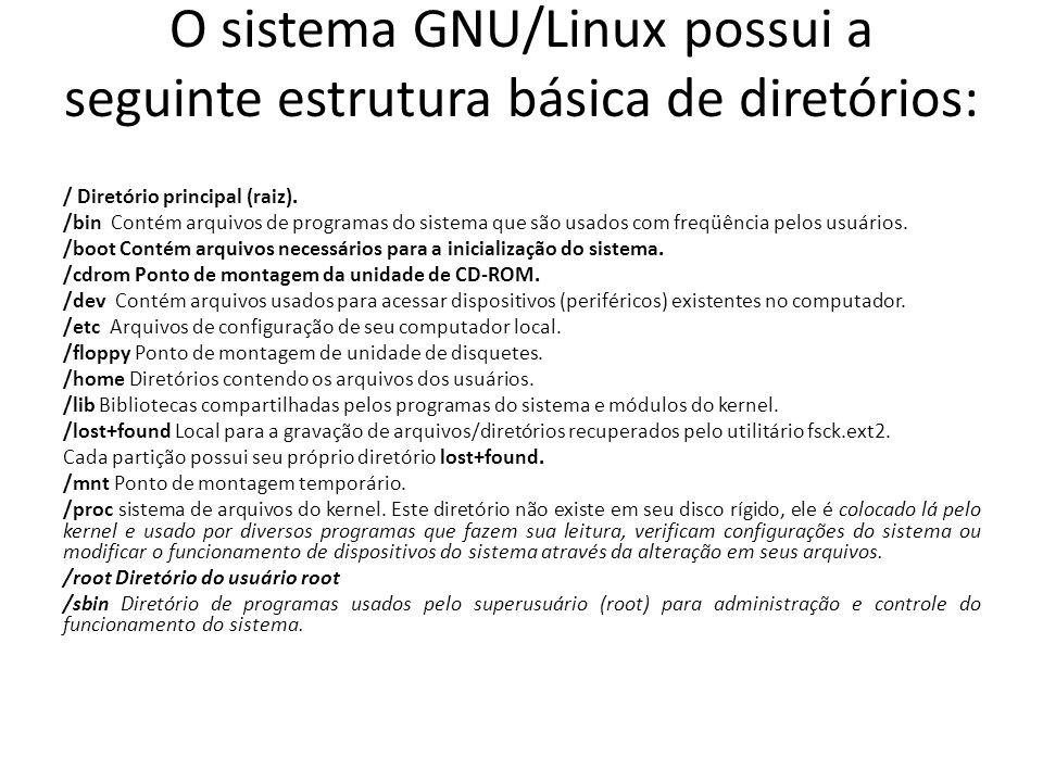 O sistema GNU/Linux possui a seguinte estrutura básica de diretórios: