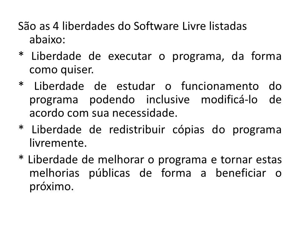 São as 4 liberdades do Software Livre listadas abaixo: