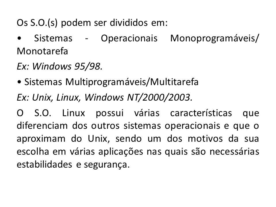 Os S.O.(s) podem ser divididos em: • Sistemas - Operacionais Monoprogramáveis/ Monotarefa Ex: Windows 95/98.