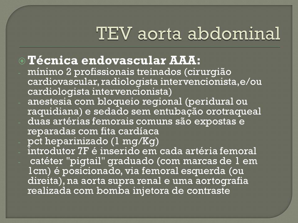 TEV aorta abdominal Técnica endovascular AAA: