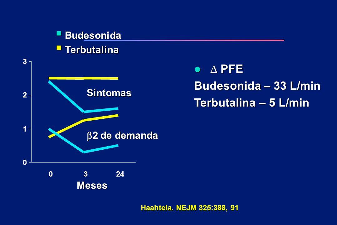 D PFE Budesonida – 33 L/min Terbutalina – 5 L/min Budesonida