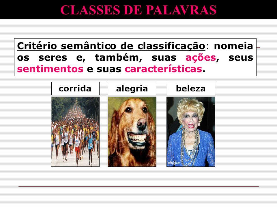 CLASSES DE PALAVRAS Critério semântico de classificação: nomeia os seres e, também, suas ações, seus sentimentos e suas características.