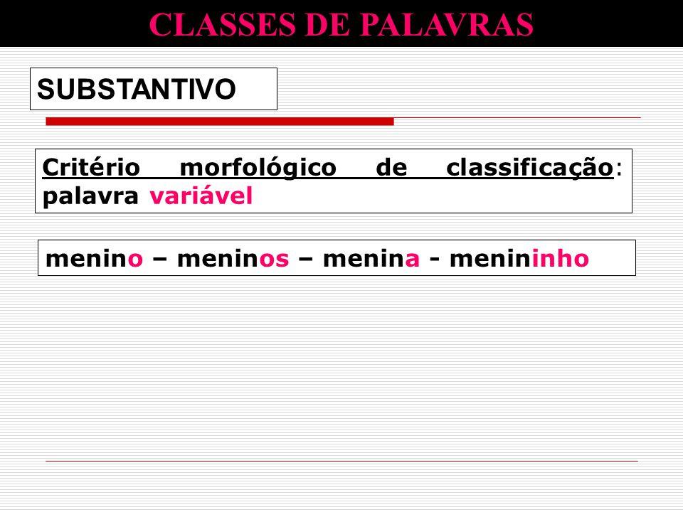 CLASSES DE PALAVRAS SUBSTANTIVO