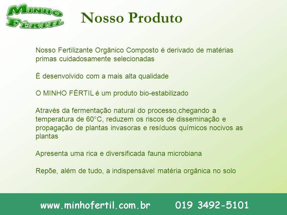 Nosso Produto Nosso Fertilizante Orgânico Composto é derivado de matérias primas cuidadosamente selecionadas.