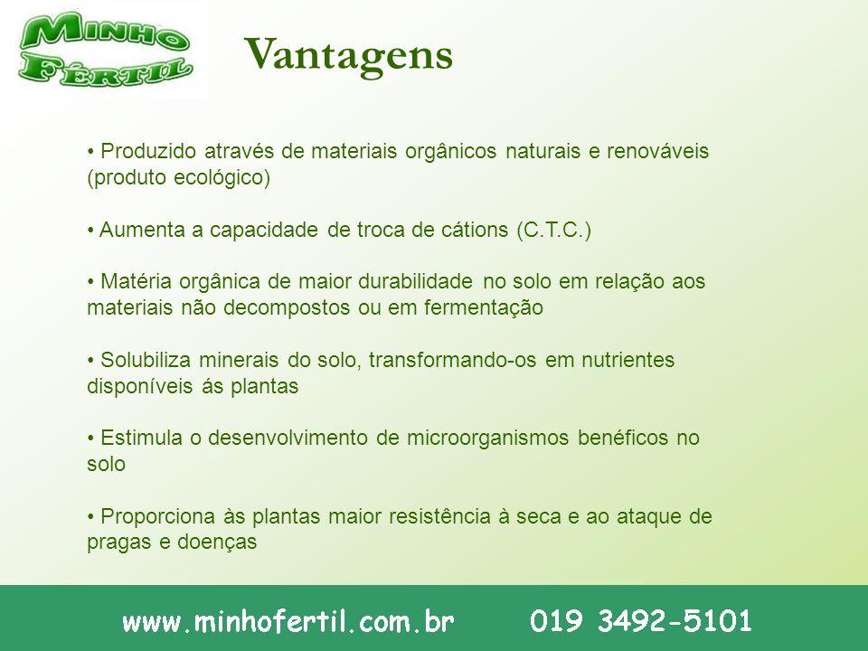 Vantagens • Produzido através de materiais orgânicos naturais e renováveis (produto ecológico) • Aumenta a capacidade de troca de cátions (C.T.C.)