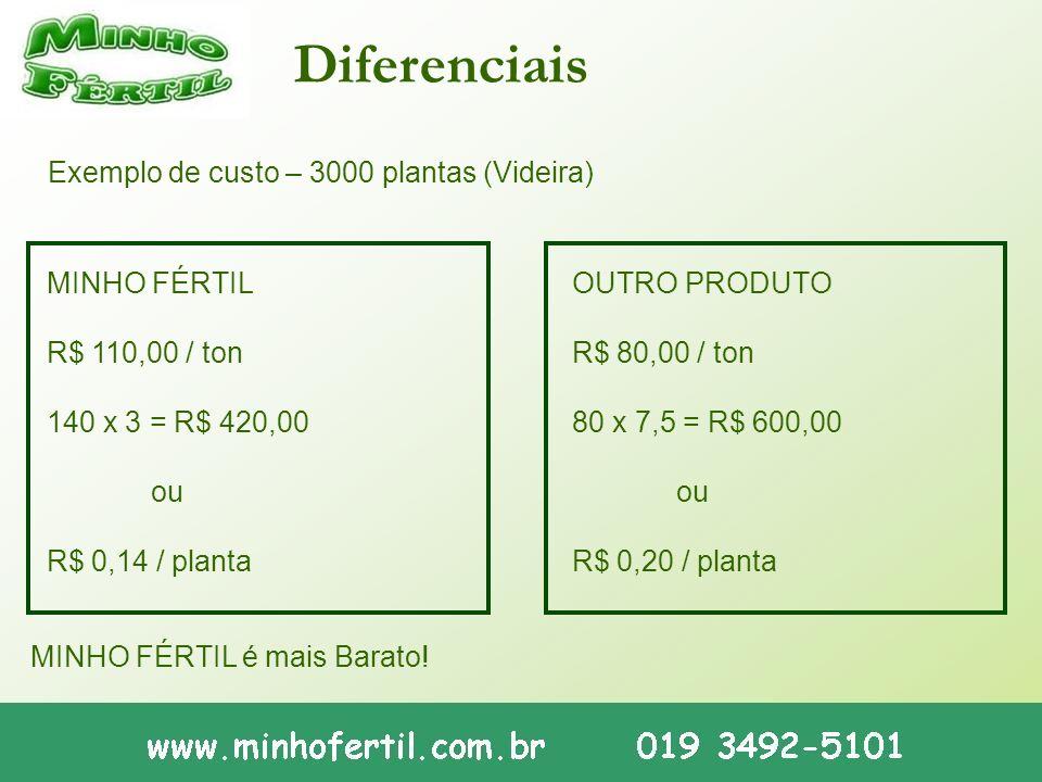 Diferenciais Exemplo de custo – 3000 plantas (Videira) MINHO FÉRTIL