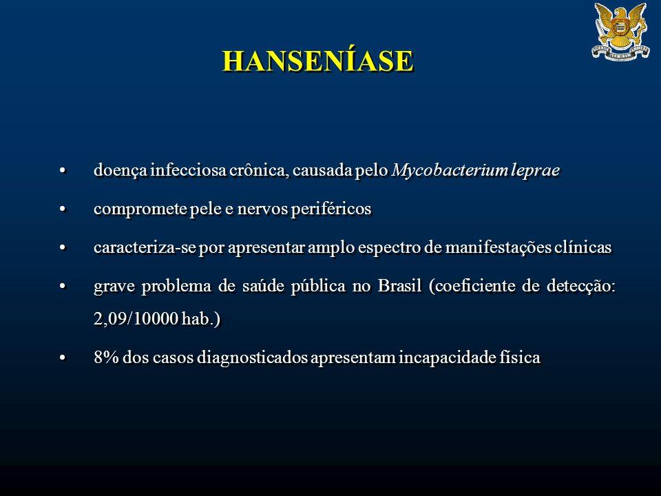 HANSENÍASE doença infecciosa crônica, causada pelo Mycobacterium leprae. compromete pele e nervos periféricos.