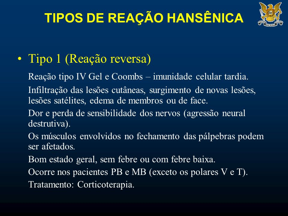 TIPOS DE REAÇÃO HANSÊNICA