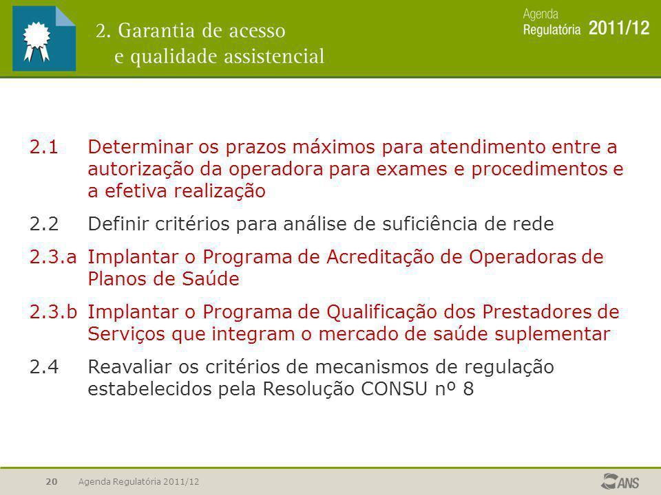 2.2 Definir critérios para análise de suficiência de rede
