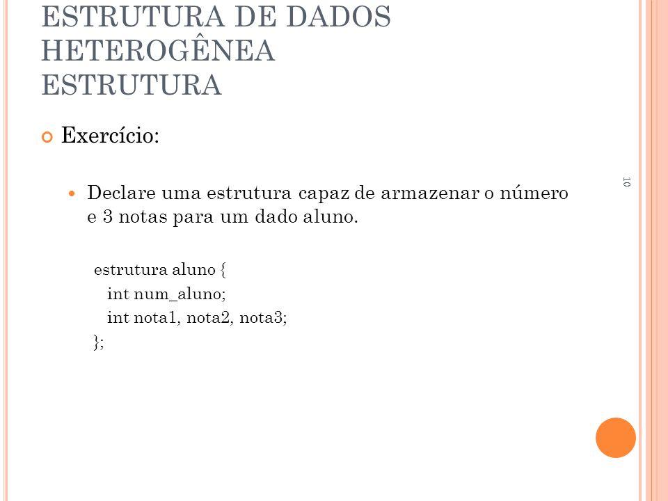 ESTRUTURA DE DADOS HETEROGÊNEA ESTRUTURA