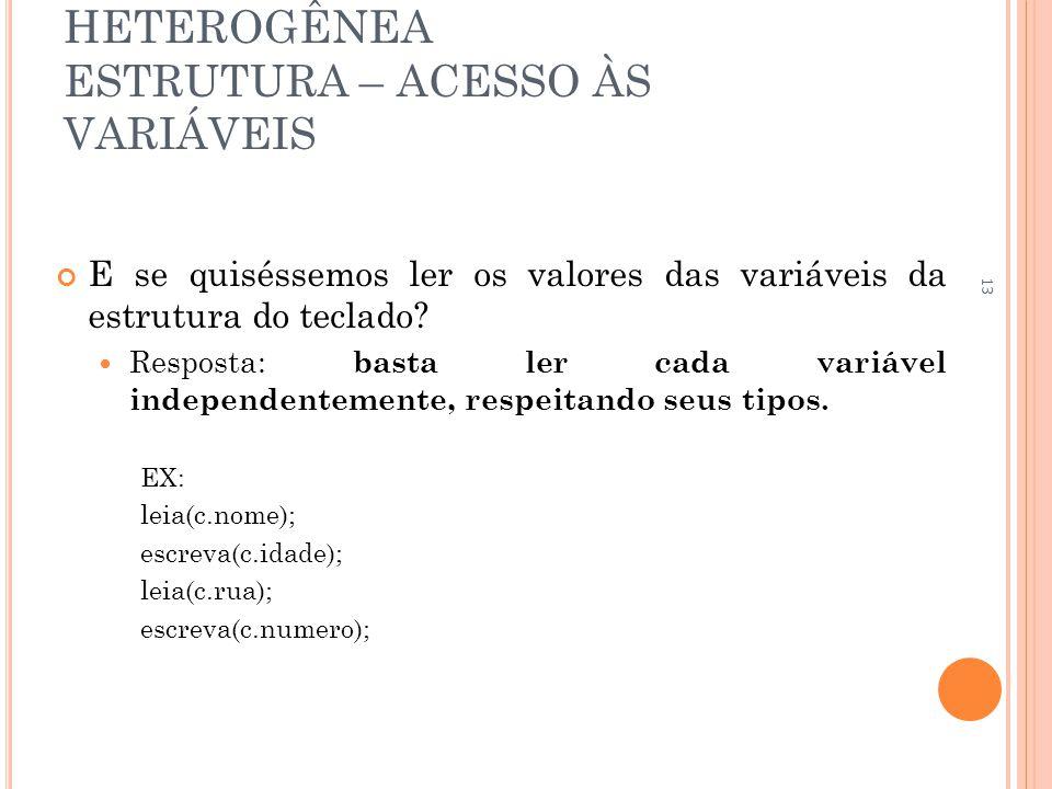 ESTRUTURA DE DADOS HETEROGÊNEA ESTRUTURA – ACESSO ÀS VARIÁVEIS