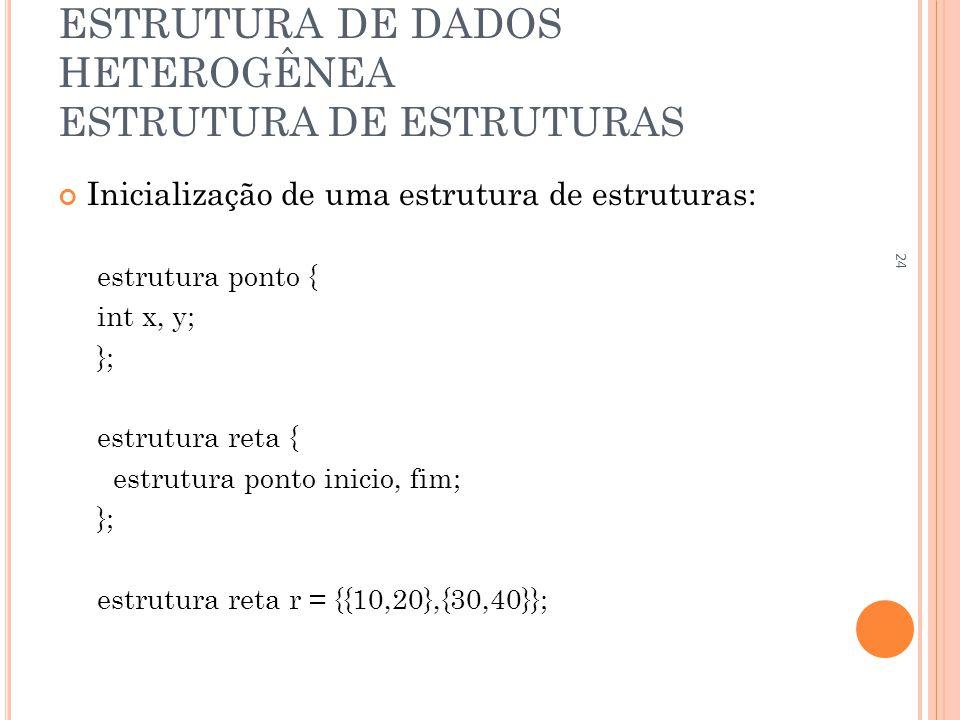 ESTRUTURA DE DADOS HETEROGÊNEA ESTRUTURA DE ESTRUTURAS