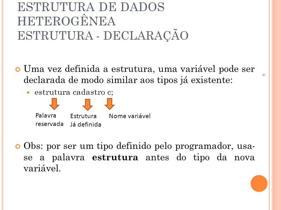 ESTRUTURA DE DADOS HETEROGÊNEA ESTRUTURA - DECLARAÇÃO