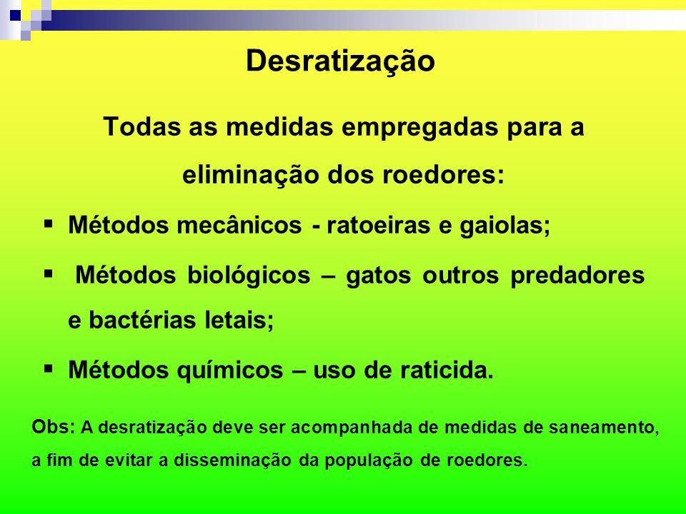 Todas as medidas empregadas para a eliminação dos roedores:
