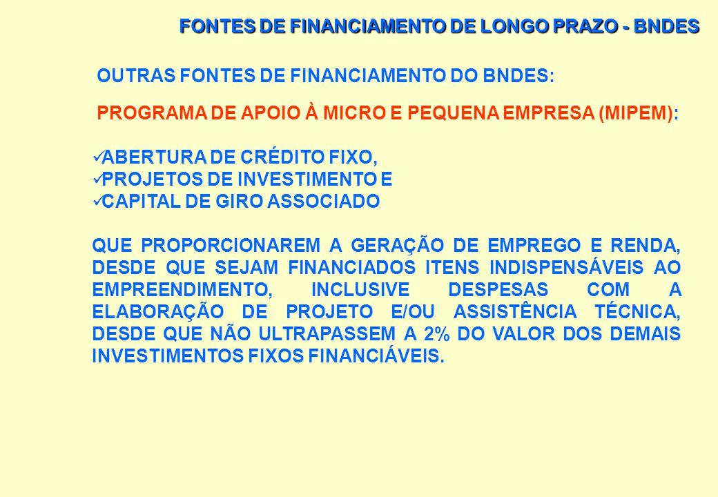 FONTES DE FINANCIAMENTO DE LONGO PRAZO - BNDES