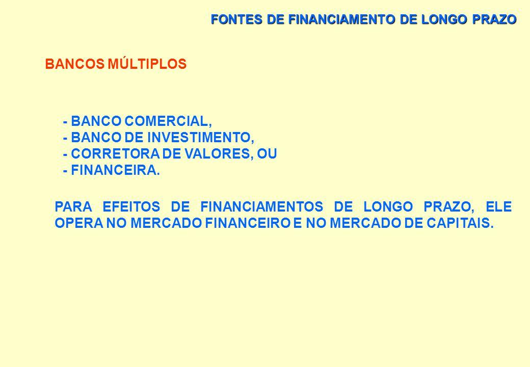 - BANCO DE INVESTIMENTO, - CORRETORA DE VALORES, OU - FINANCEIRA.