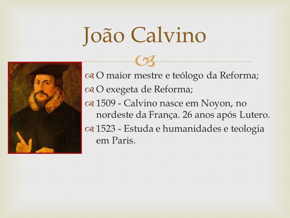 João Calvino O maior mestre e teólogo da Reforma;