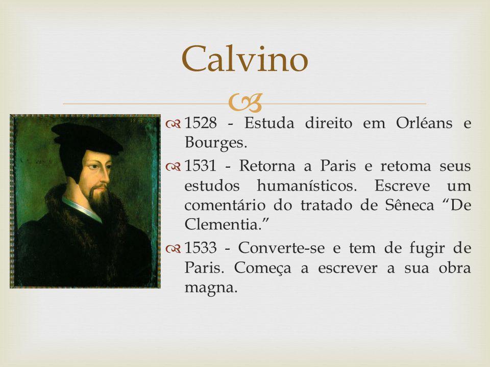 Calvino 1528 - Estuda direito em Orléans e Bourges.
