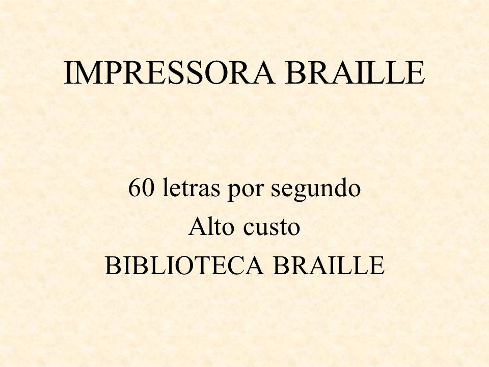 60 letras por segundo Alto custo BIBLIOTECA BRAILLE