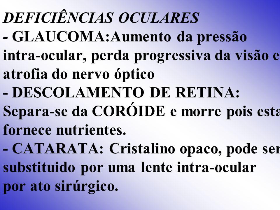 DEFICIÊNCIAS OCULARES - GLAUCOMA:Aumento da pressão intra-ocular, perda progressiva da visão e atrofia do nervo óptico - DESCOLAMENTO DE RETINA: Separa-se da CORÓIDE e morre pois esta fornece nutrientes.