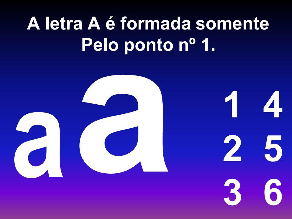A letra A é formada somente Pelo ponto nº 1.
