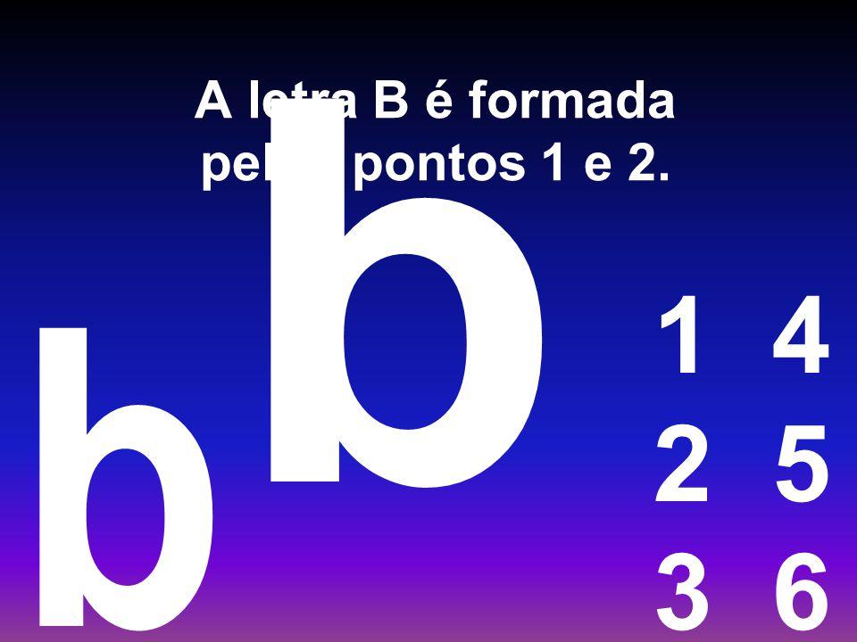 A letra B é formada pelos pontos 1 e 2.