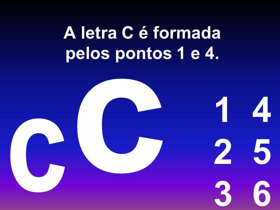 A letra C é formada pelos pontos 1 e 4.