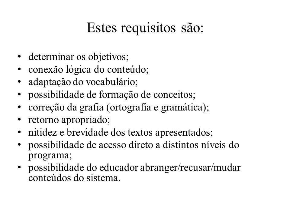 Estes requisitos são: determinar os objetivos;
