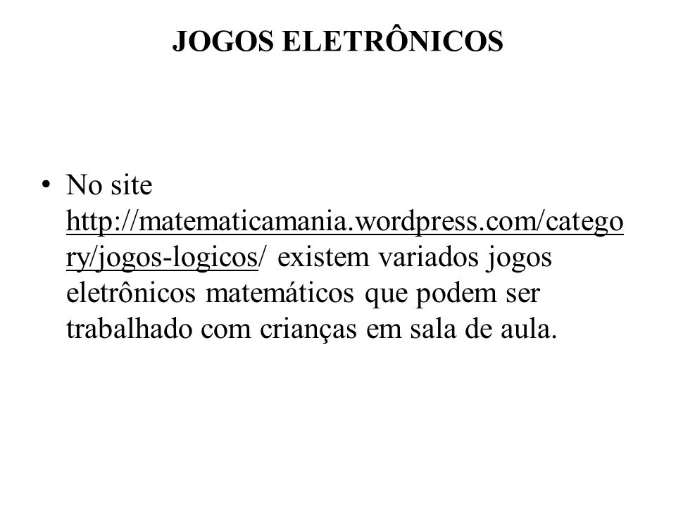 JOGOS ELETRÔNICOS