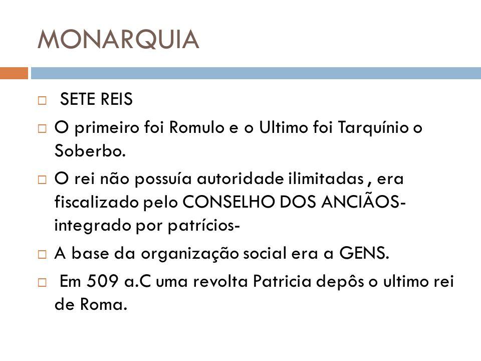 MONARQUIA SETE REIS. O primeiro foi Romulo e o Ultimo foi Tarquínio o Soberbo.