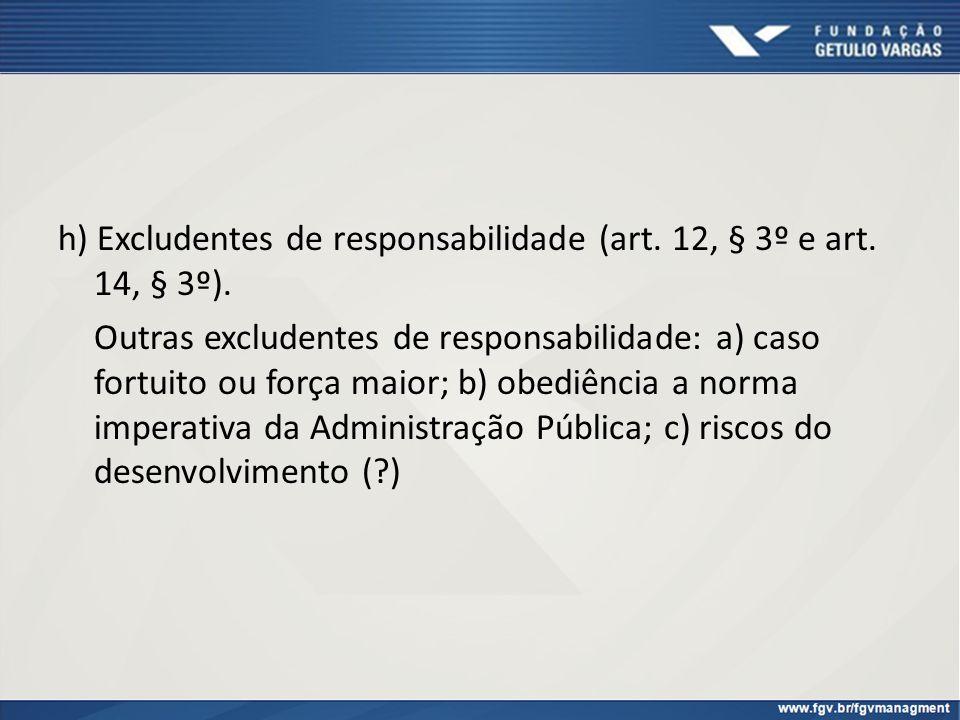 h) Excludentes de responsabilidade (art. 12, § 3º e art. 14, § 3º).
